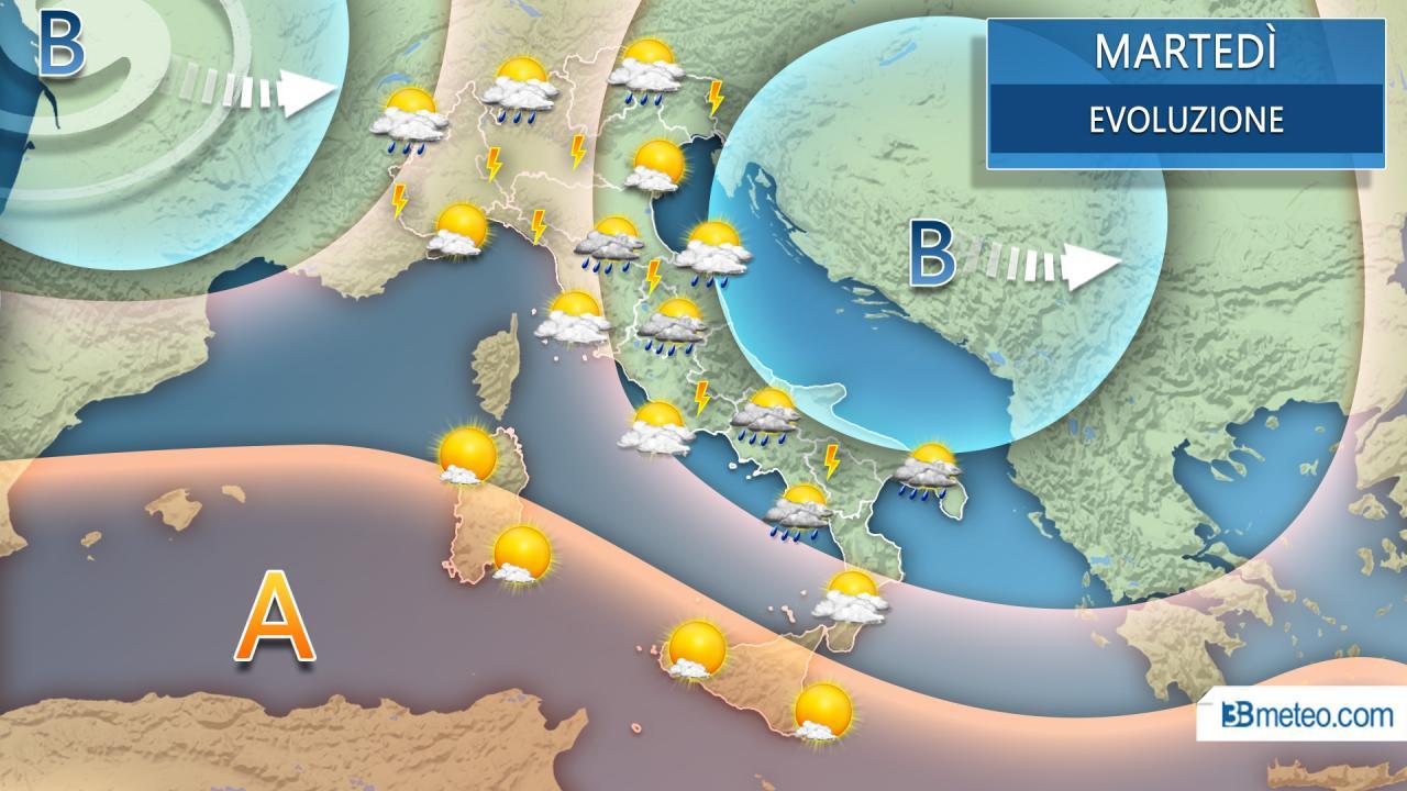 Martedì proseguono i rovesci e i temporali sull'Italia