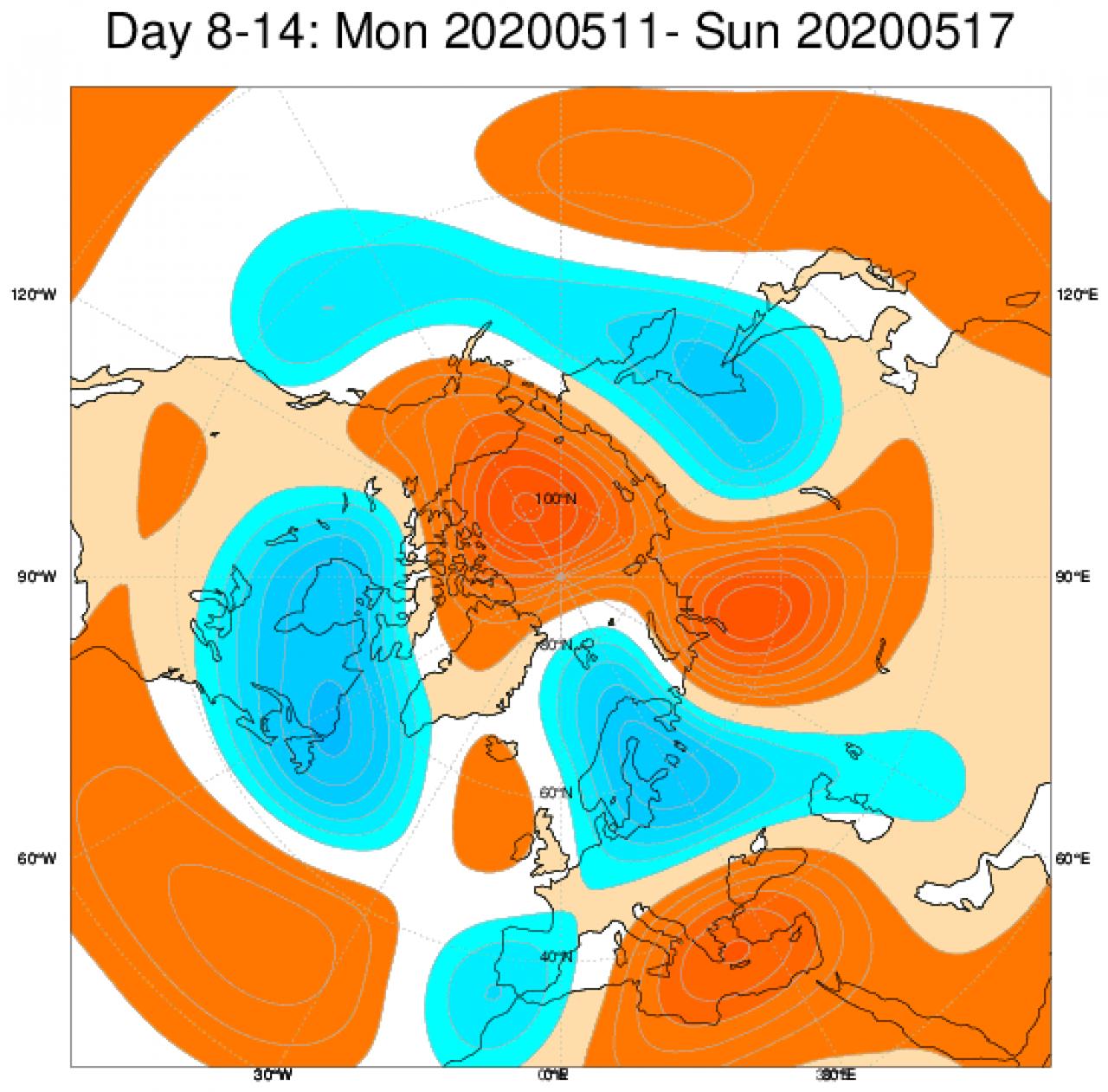Media di ensemble del modello inglese ECMWF relativa all'anomalia di Altezza di Geopotenziale a 500 hPa (circa 5.500 metri) per il periodo 11-17 maggio 2020