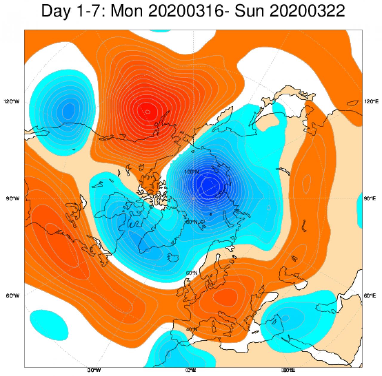 Media di ensemble del modello inglese ECMWF relativa all'anomalia di Altezza di Geopotenziale a 500 hPa (circa 5.500 metri) per il periodo 16-22 marzo 2020