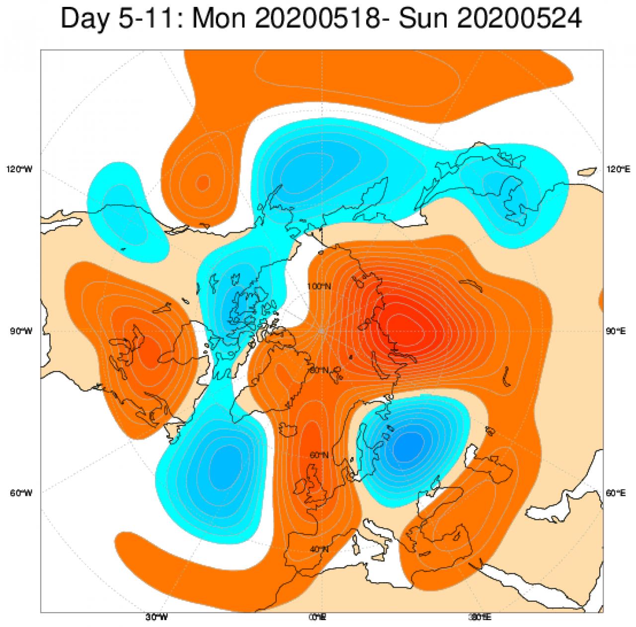 Media di ensemble del modello inglese ECMWF relativa all'anomalia di Altezza di Geopotenziale a 500 hPa (circa 5.500 metri) per il periodo 18-24 maggio 2020