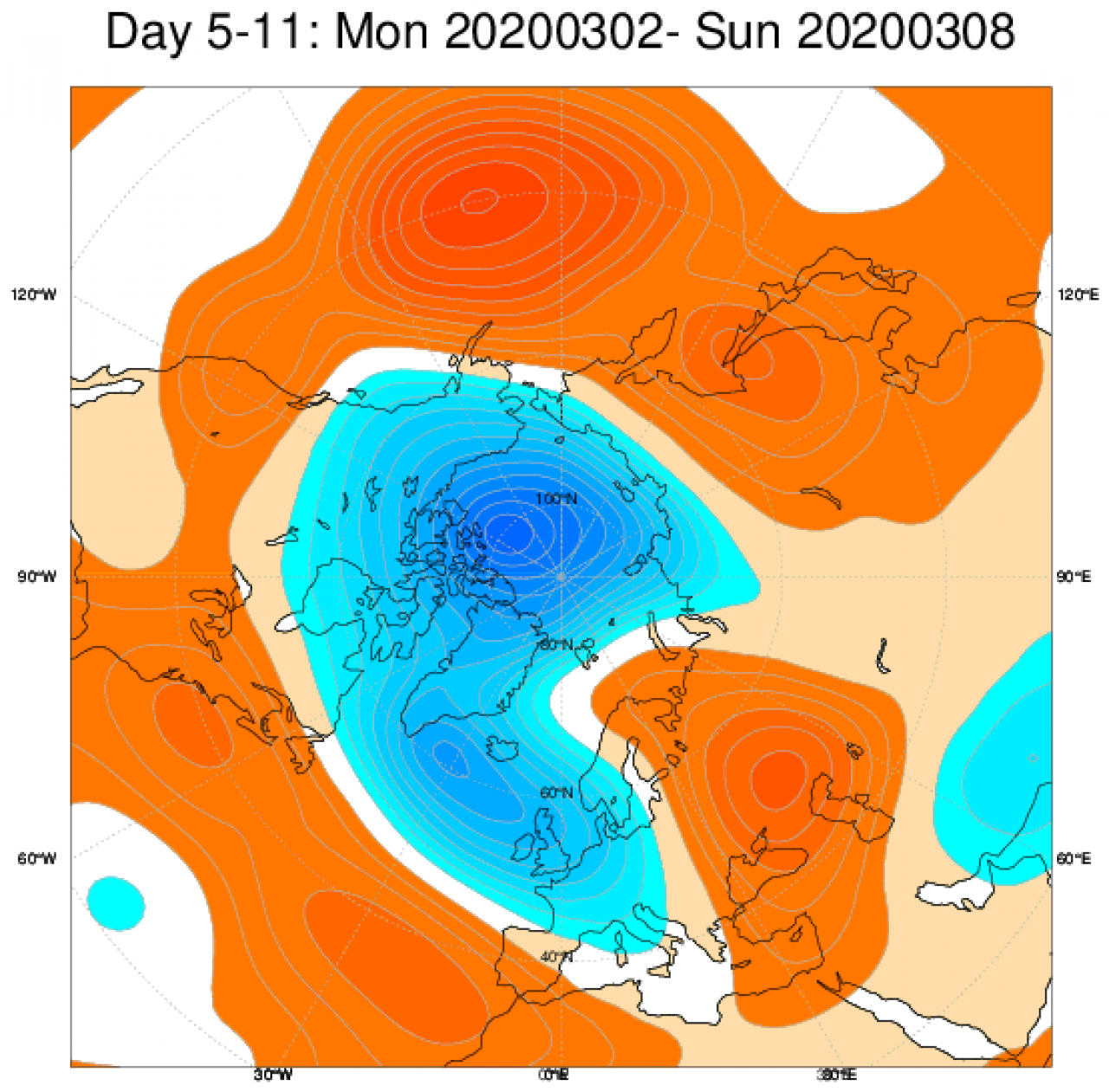 Media di ensemble del modello inglese ECMWF relativa all'anomalia di Altezza di Geopotenziale a 500 hPa (circa 5.500 metri) per il periodo 2-8 marzo 2020