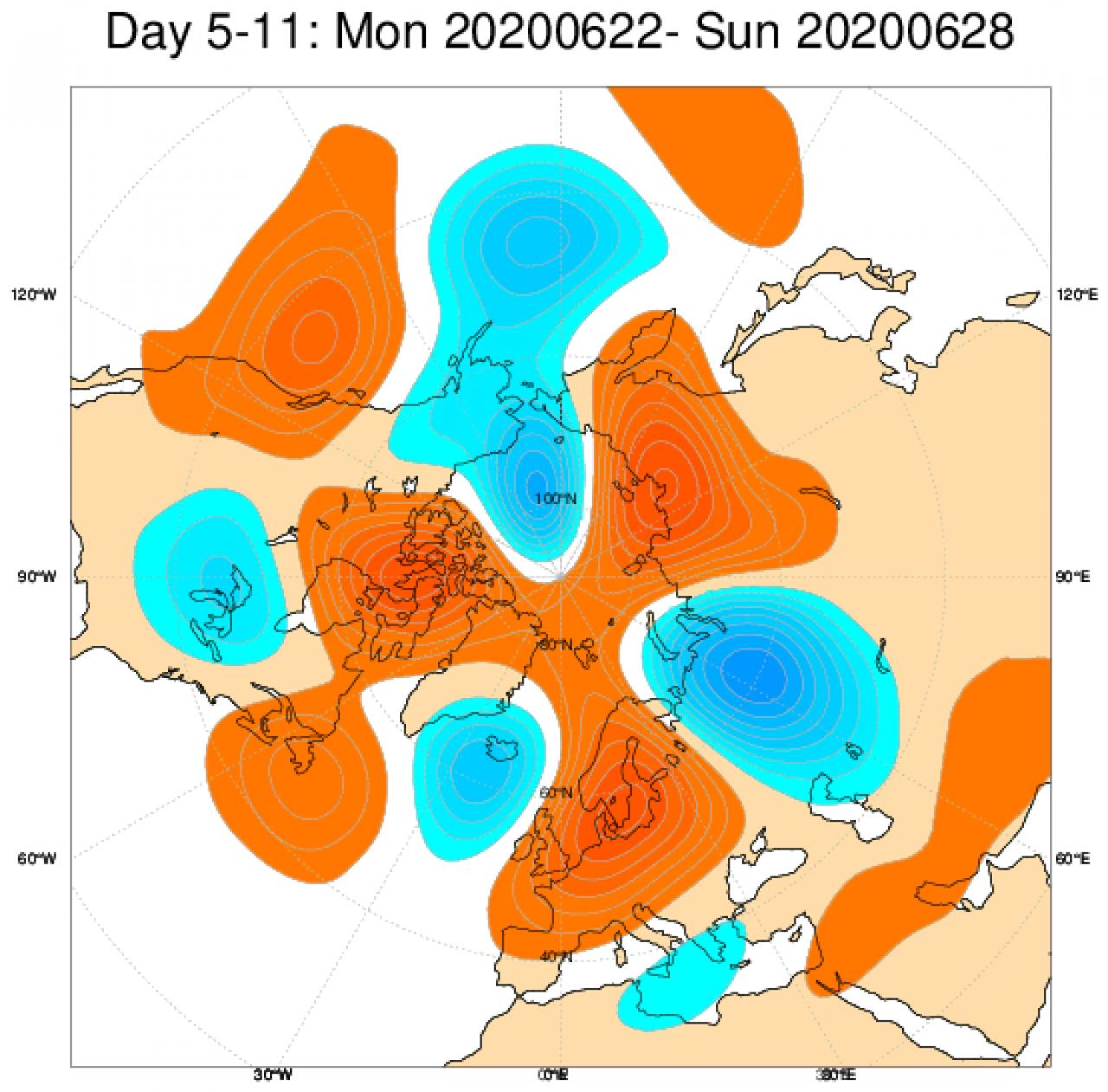Media di ensemble del modello inglese ECMWF relativa all'anomalia di Altezza di Geopotenziale a 500 hPa (circa 5.500 metri) per il periodo 22-28 giugno 2020