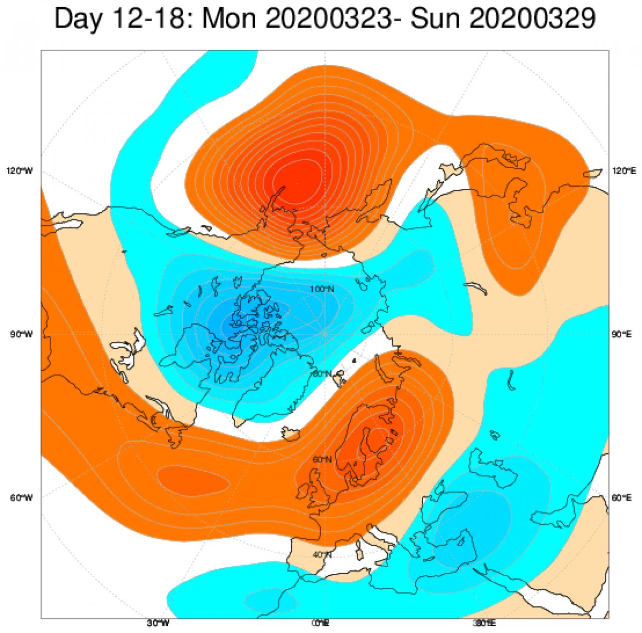 Media di ensemble del modello inglese ECMWF relativa all'anomalia di Altezza di Geopotenziale a 500 hPa (circa 5.500 metri) per il periodo 23-29 marzo 2020