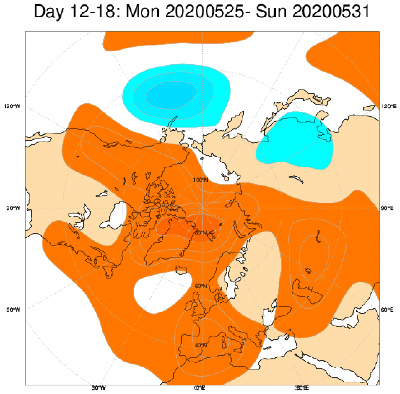 Media di ensemble del modello inglese ECMWF relativa all'anomalia di Altezza di Geopotenziale a 500 hPa (circa 5.500 metri) per il periodo 25-31 maggio 2020