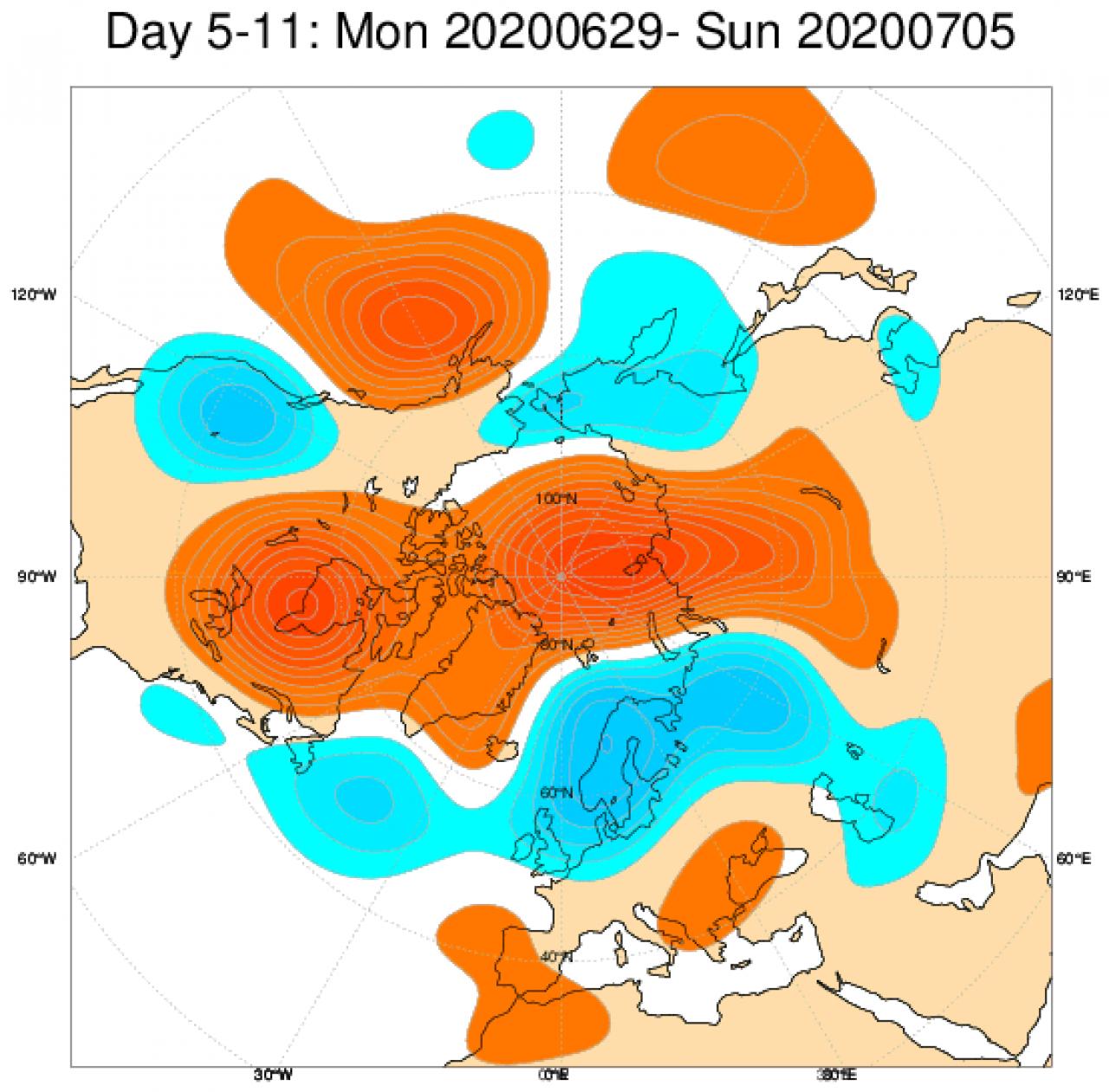 Media di ensemble del modello inglese ECMWF relativa all'anomalia di Altezza di Geopotenziale a 500 hPa (circa 5.500 metri) per il periodo 29 giugno - 5 luglio 2020