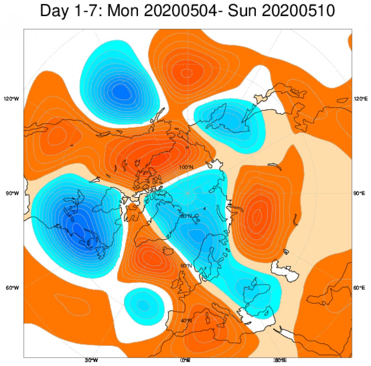 Media di ensemble del modello inglese ECMWF relativa all'anomalia di Altezza di Geopotenziale a 500 hPa (circa 5.500 metri) per il periodo 4-10 maggio 2020