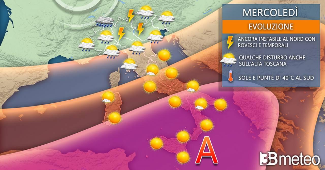 Mercoledì, tra sole, caldo africano e temporali