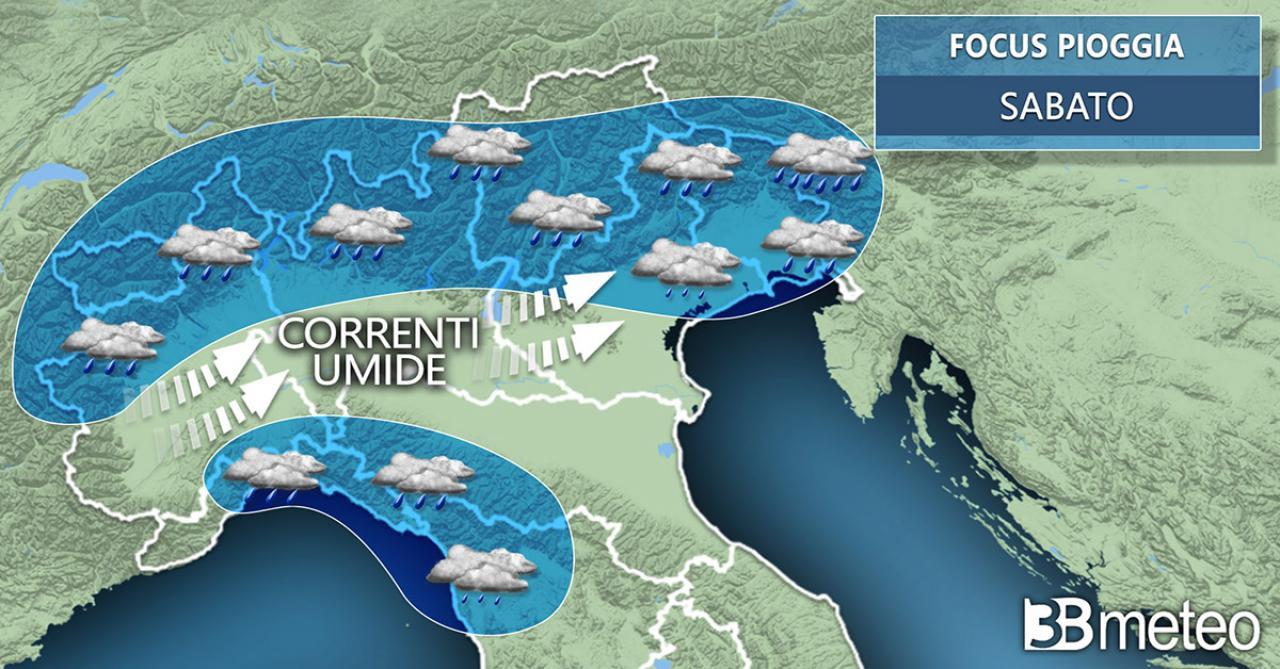 Meteo. Focus piogge previste per sabato al Nord