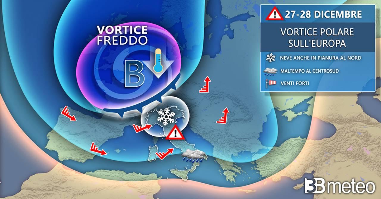 Meteo. Maltempo invernale con neve anche in pianura tra il 27 e il 28 dicembre