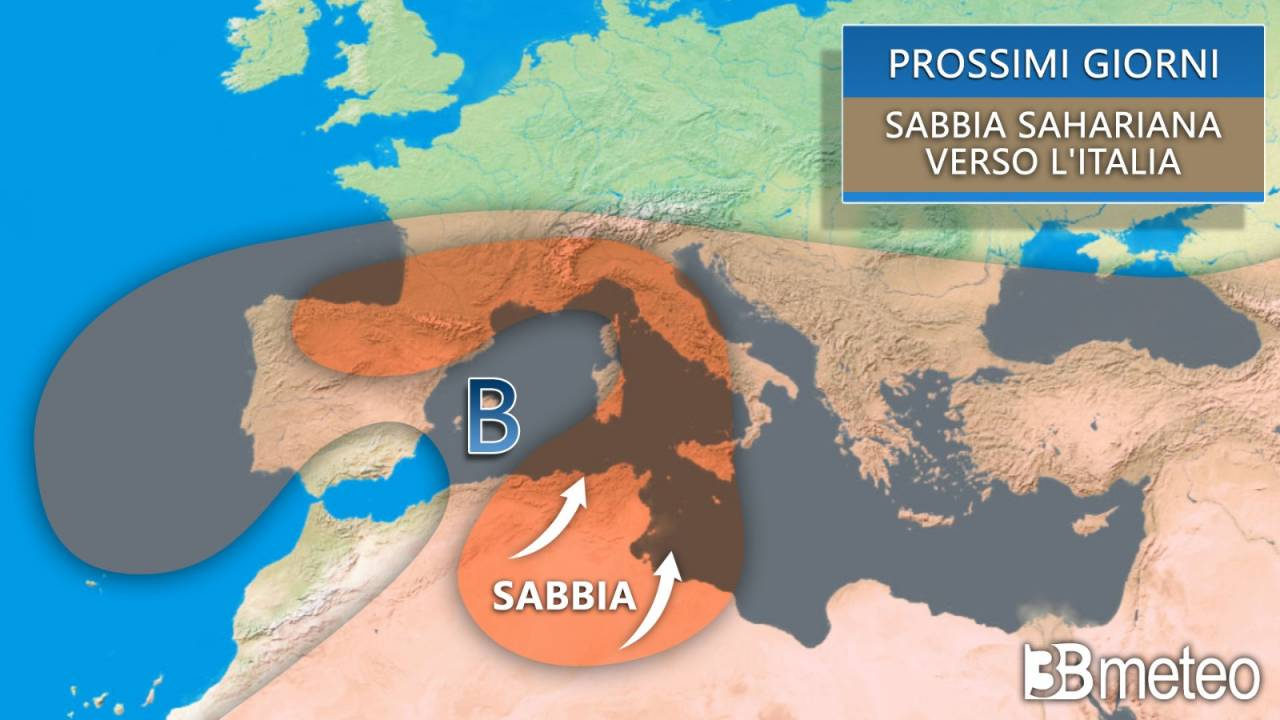 Meteo. Sabbia sahariana in risalita verso l'Italia in settimana