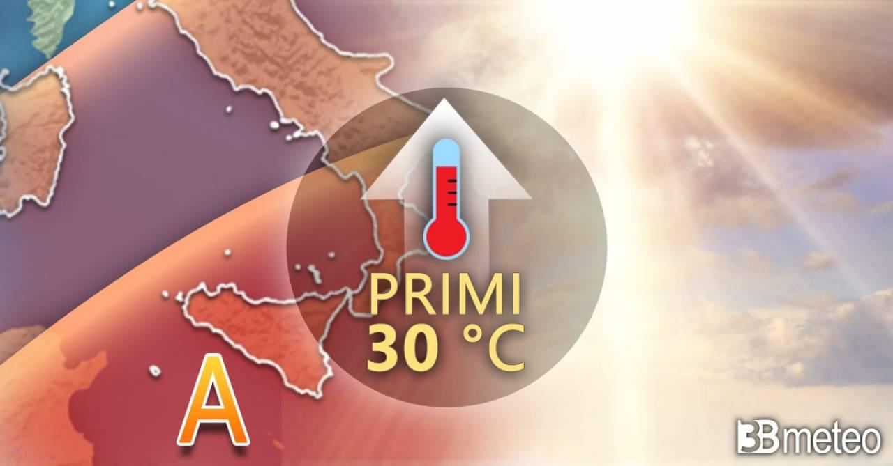 Meteo. Temperature in aumento, verso i 30°C al Sud