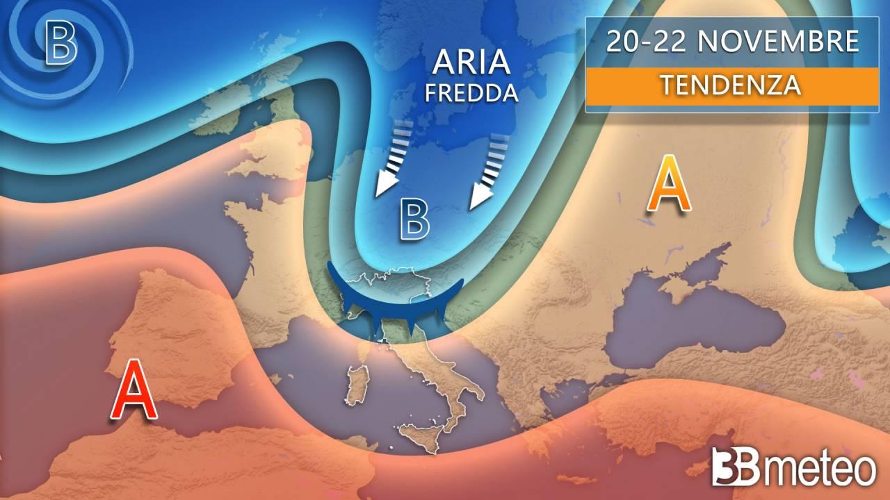 Meteo 20-22 novembre, tendenza aria fredda