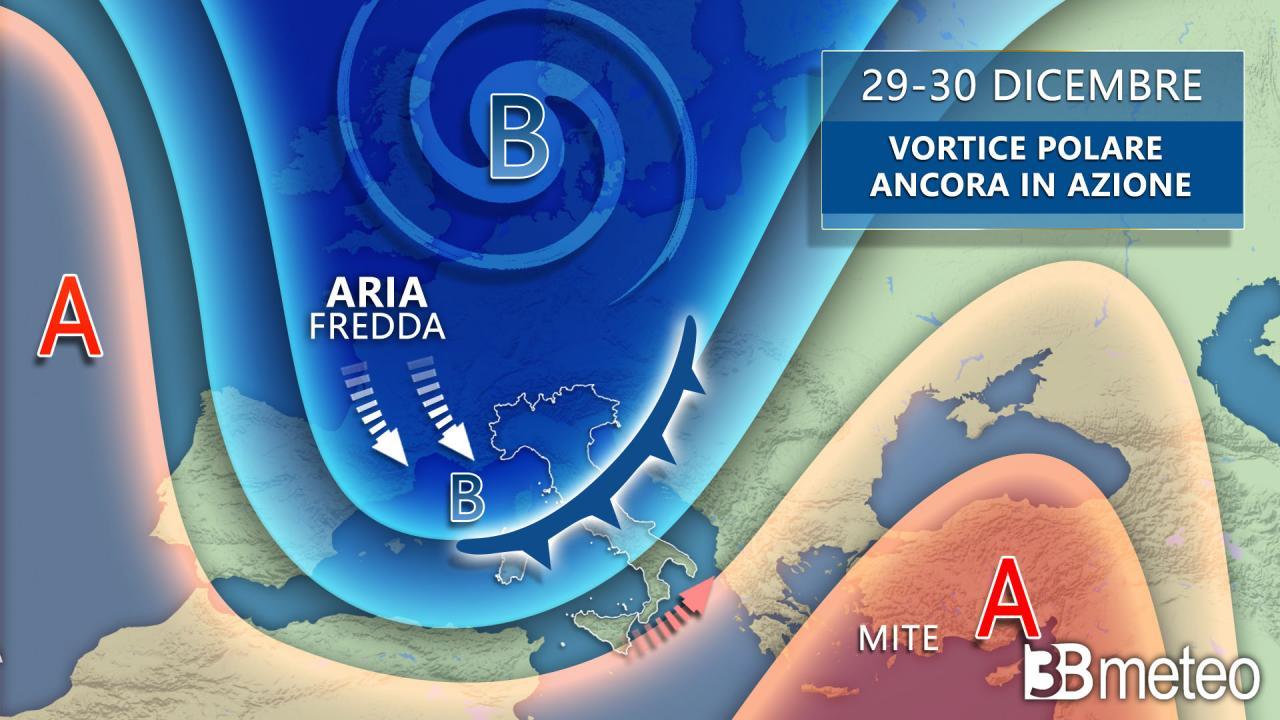 Meteo: 29-30 dicembre, VORTICE POLARE ancora ATTIVO sull'Italia con PIOGGIA e NEVE. Dettagli