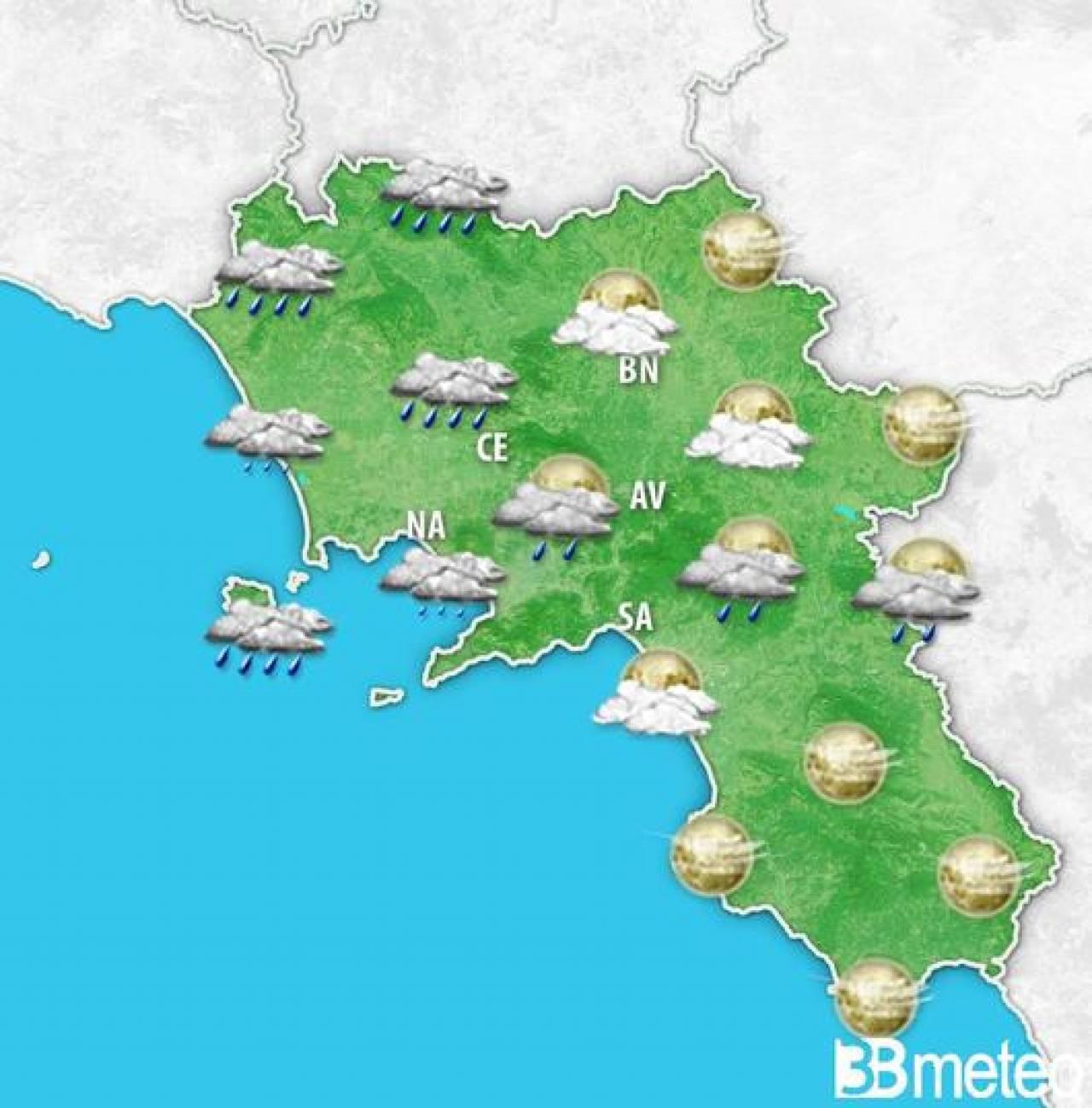 Meteo Campania: debole peggioramento del tempo nella serata di martedì 11 maggio