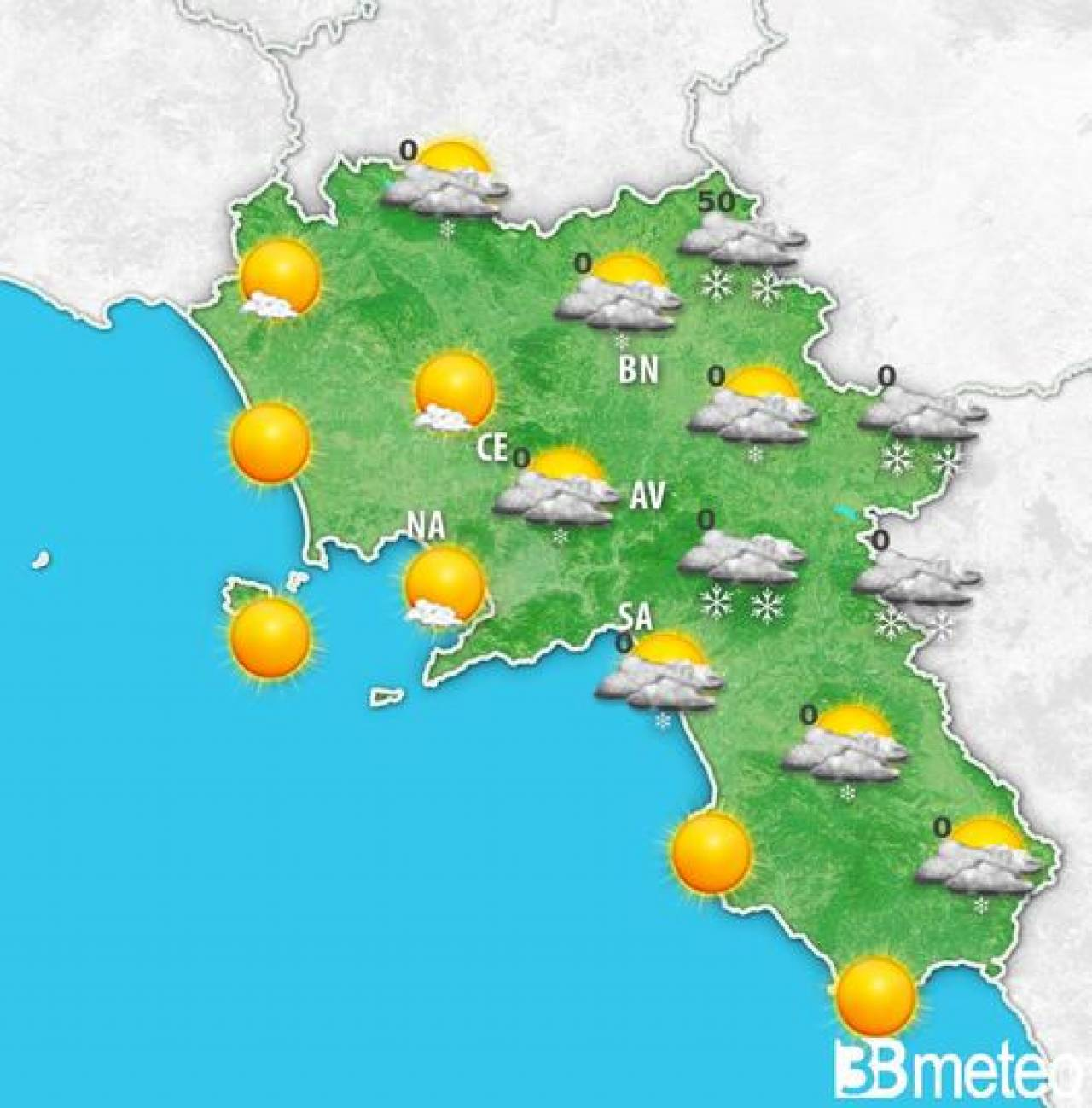 Meteo Campania: l'evoluzione attesa domenica. Fiocchi fino in pianura