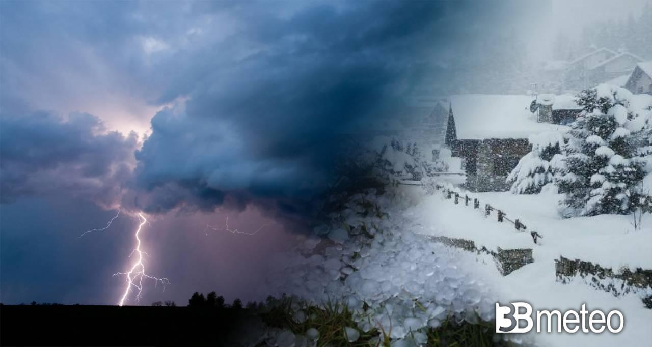 Meteo cronaca, temporali, grandine , freddo e neve su mezza Italia