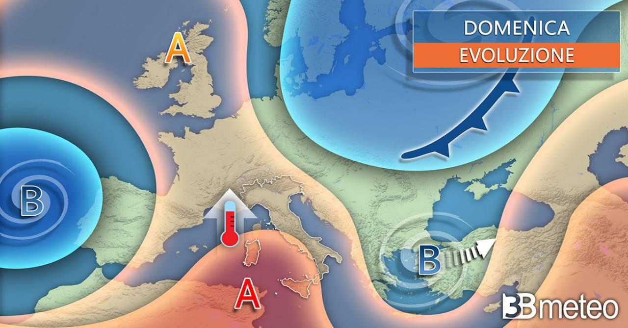 Meteo domenica, anticiclone sull'Italia