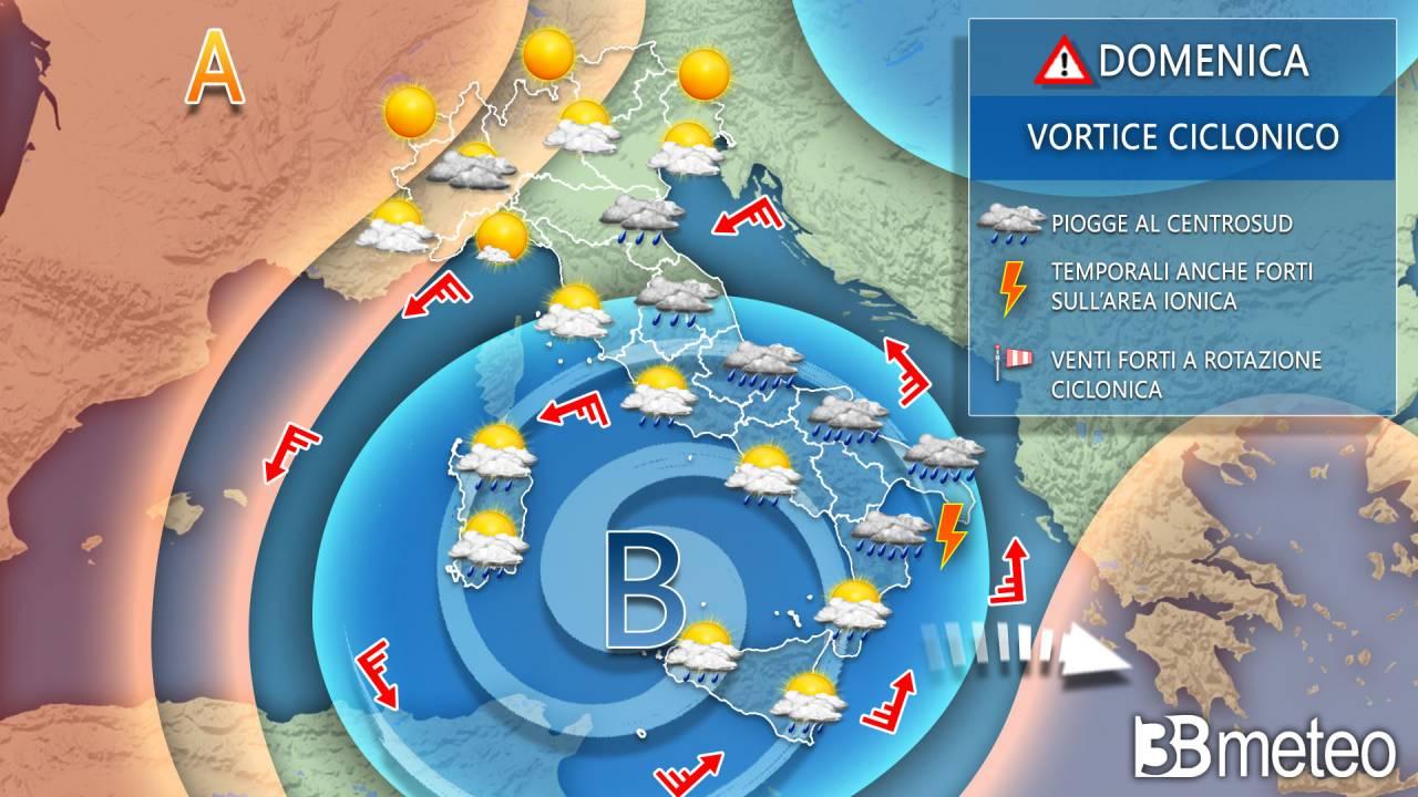Previsioni meteo domenica