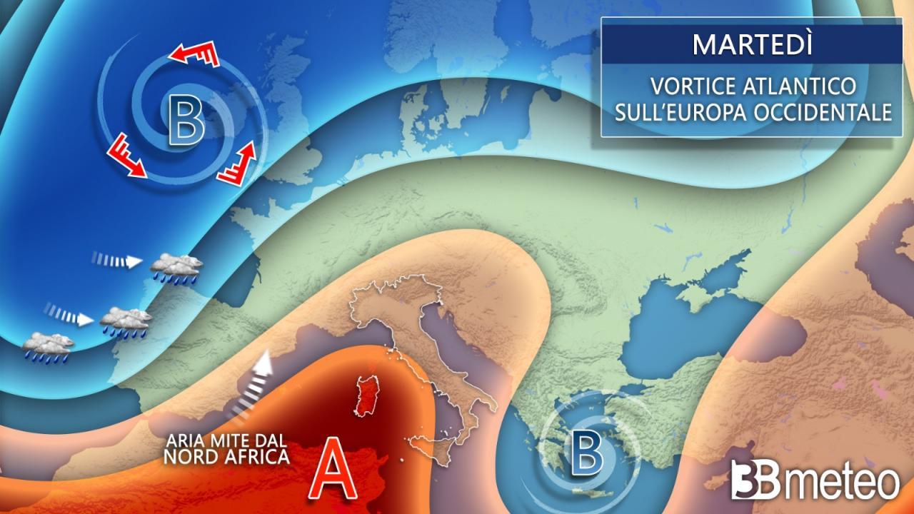 Meteo Europa martedì