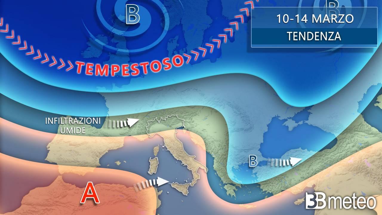 Meteo evoluzione e previsione da mercoledì 10 a domenica 14