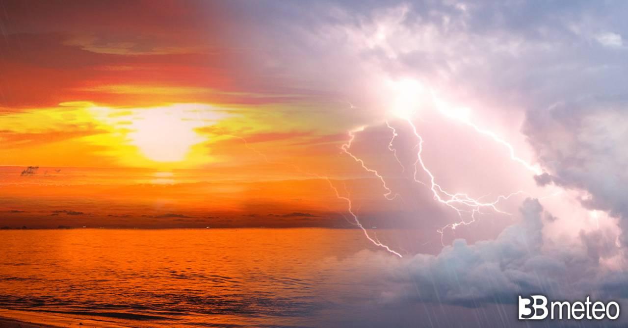 AVVISO meteo: prossime ore ACUTO del CALDO, ma stasera primi FORTI TEMPORALI