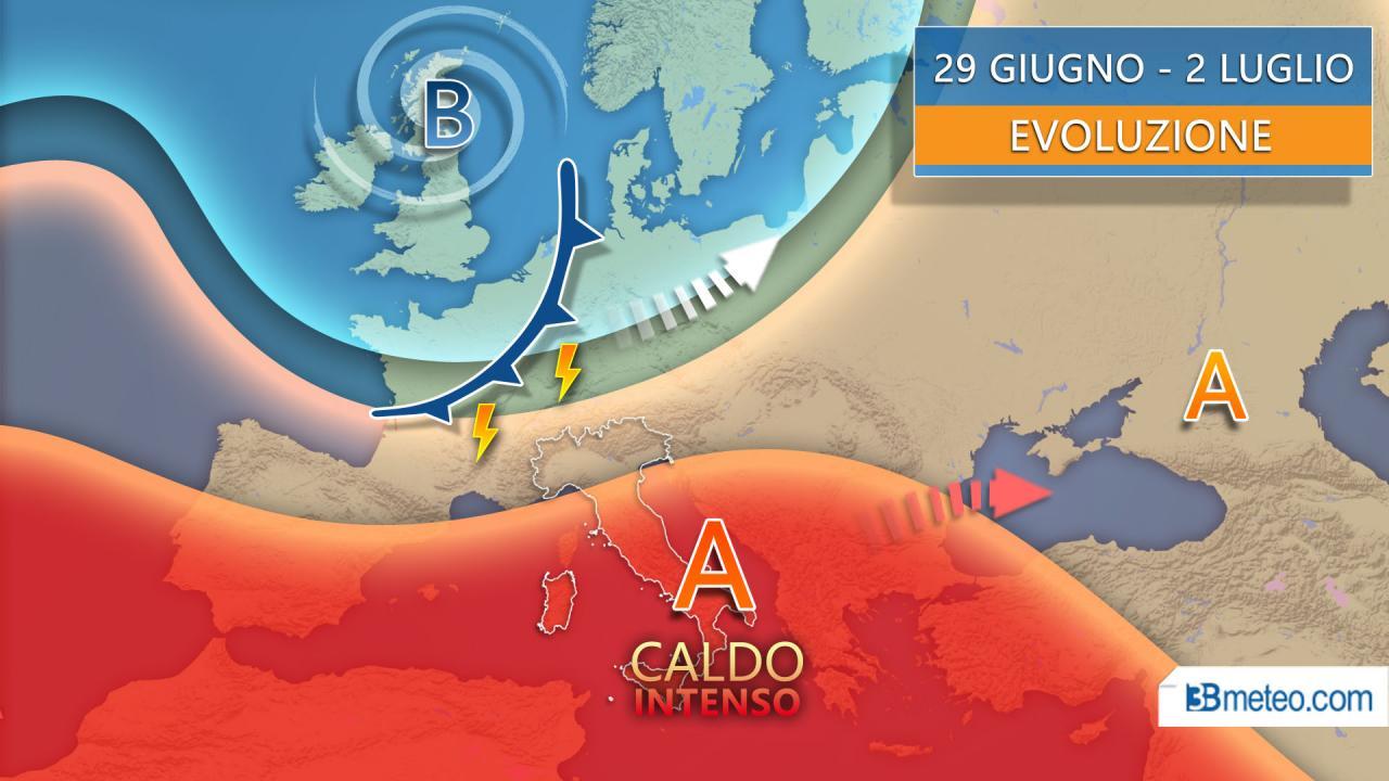 Meteo fine giugno inizio luglio molto caldi ma non senza locali forti temporali