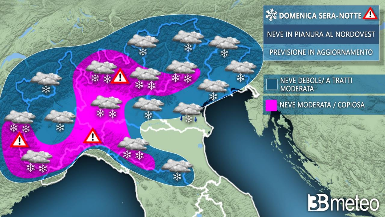 Weather focus neve domenica sera