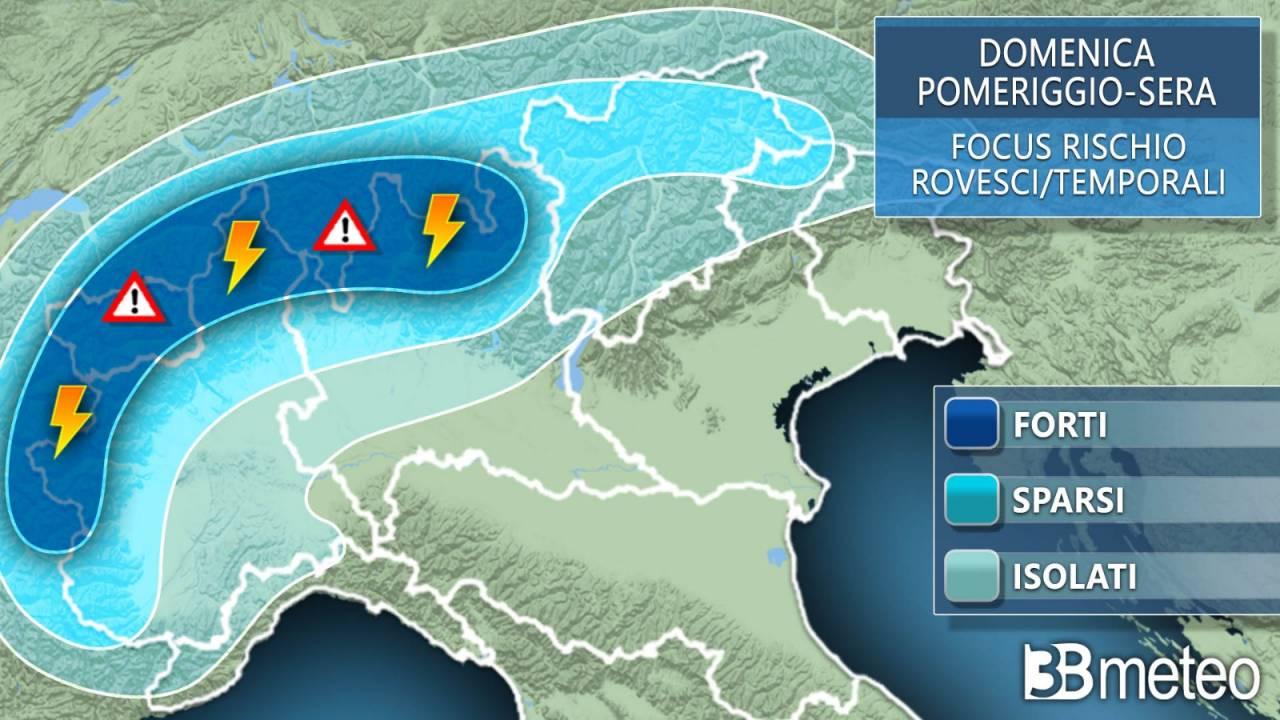 Meteo focus temporali domenica al Nord