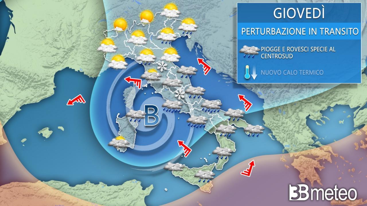 Meteo giovedì. L'instabilità si concentra al Centro-Sud