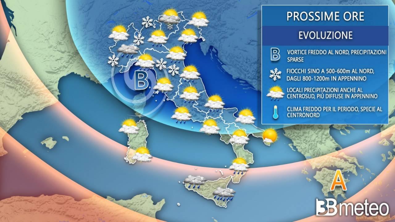 Meteo giovedì. Tempo instabile sull'Italia e clima freddo