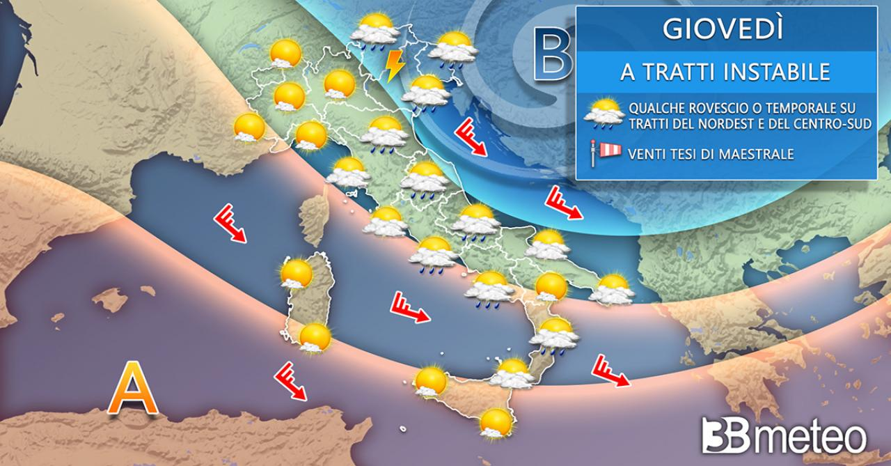 Meteo giovedì. Temporali diurni su Nordest e tratti del Centro-Sud