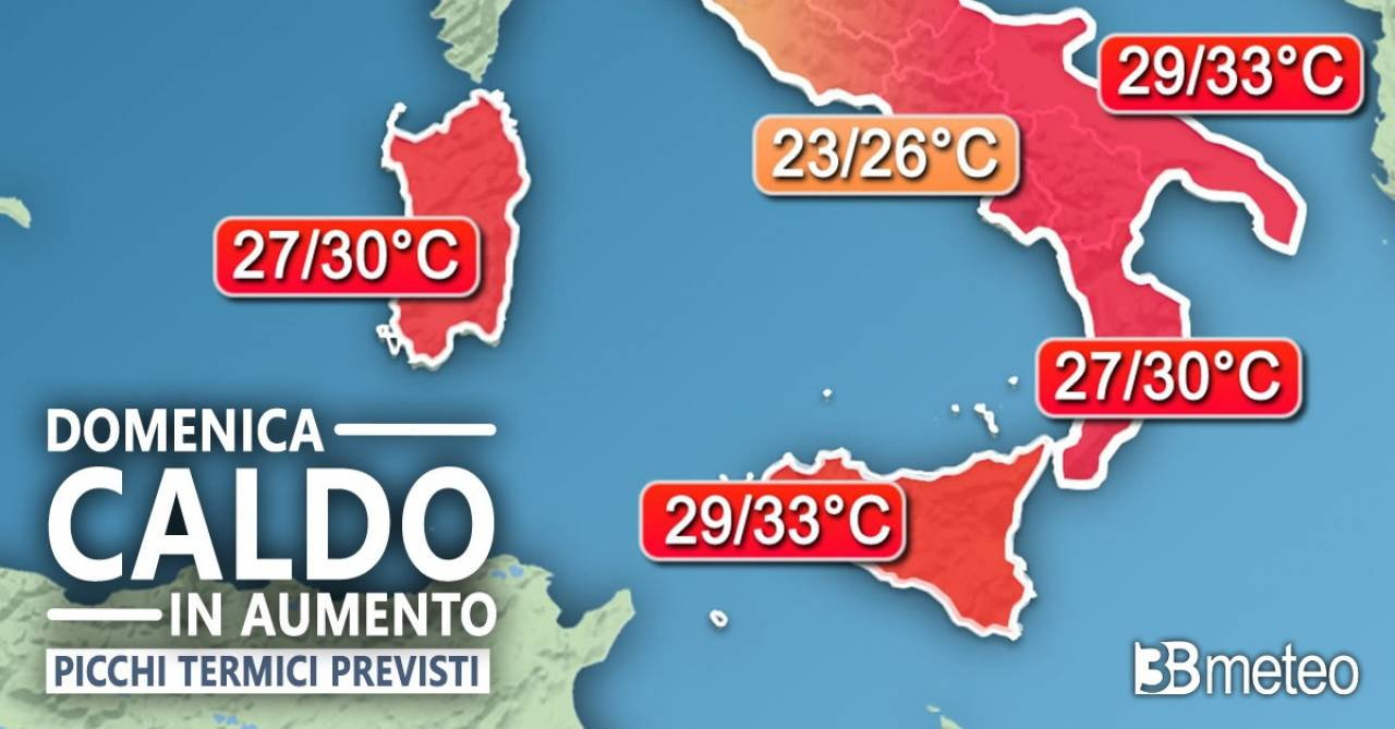 Meteo: i picchi termici previsti domenica al Sud