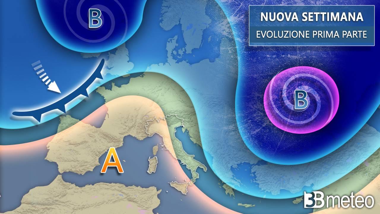 Meteo inizio settimana con l'alta pressione e clima via via meno freddo