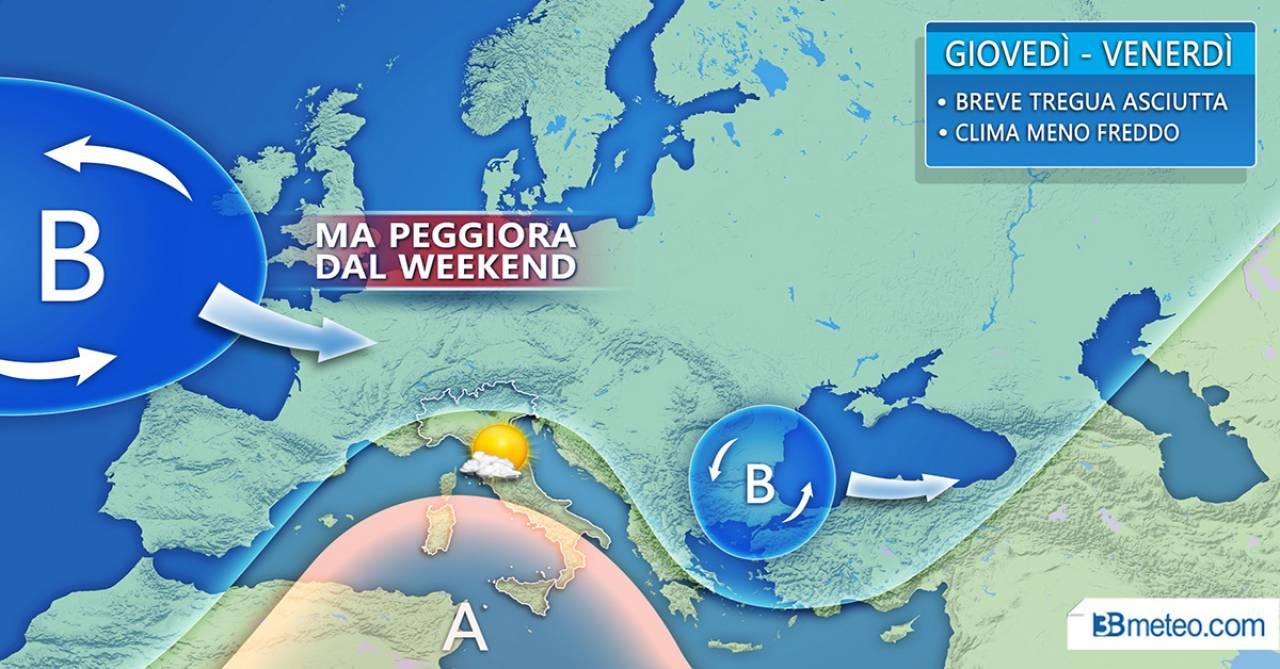 METEO ITALIA. Tregua tra oggi e domani con clima più asciutto; poi però peggiora