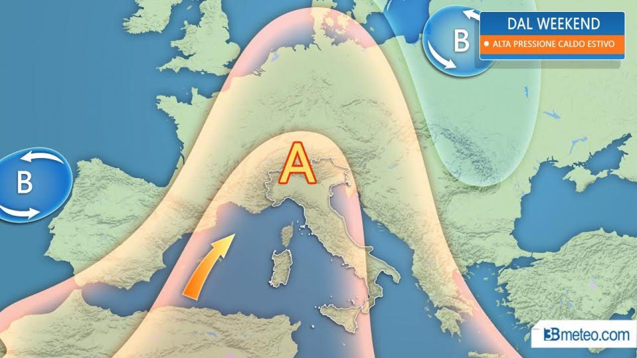 METEO Italia - da venerdì alta pressione in gran forma, CALDO ESTIVO almeno fino all'inizio di Giugno