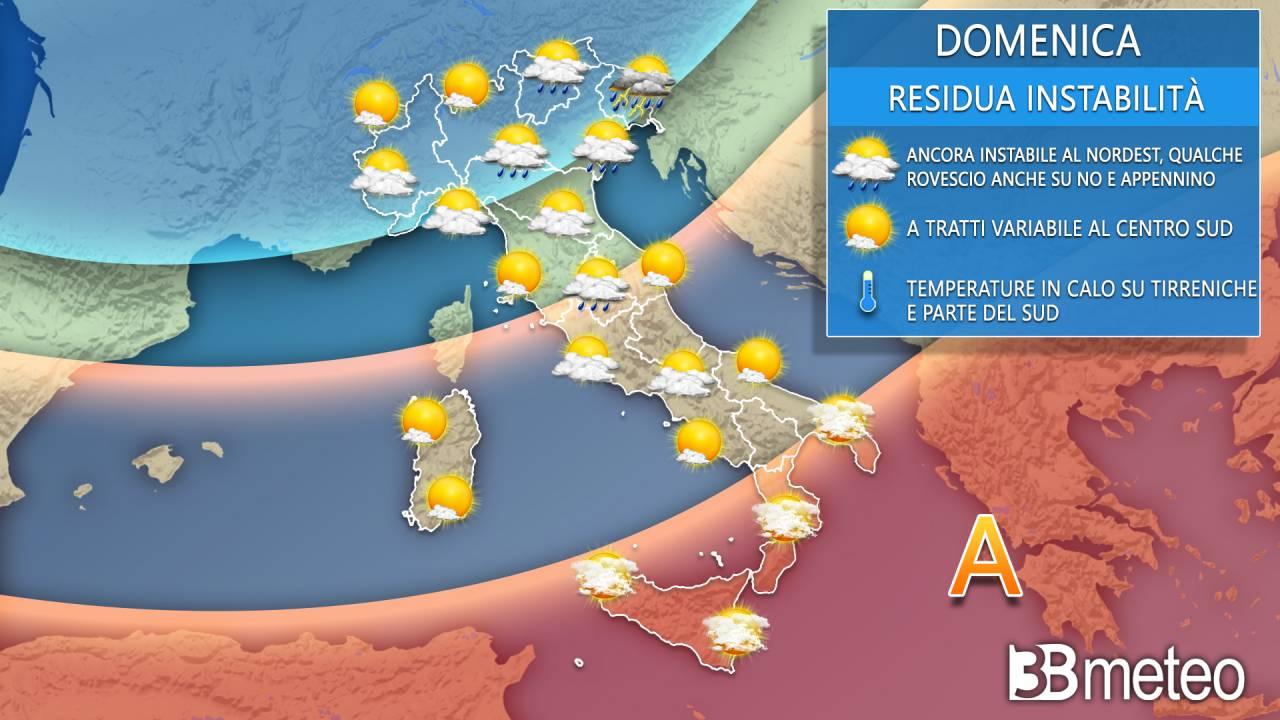 Meteo Italia domenica 2 maggio