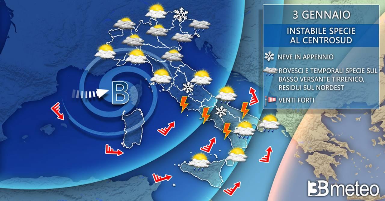 Meteo Italia domenica 3 gennaio