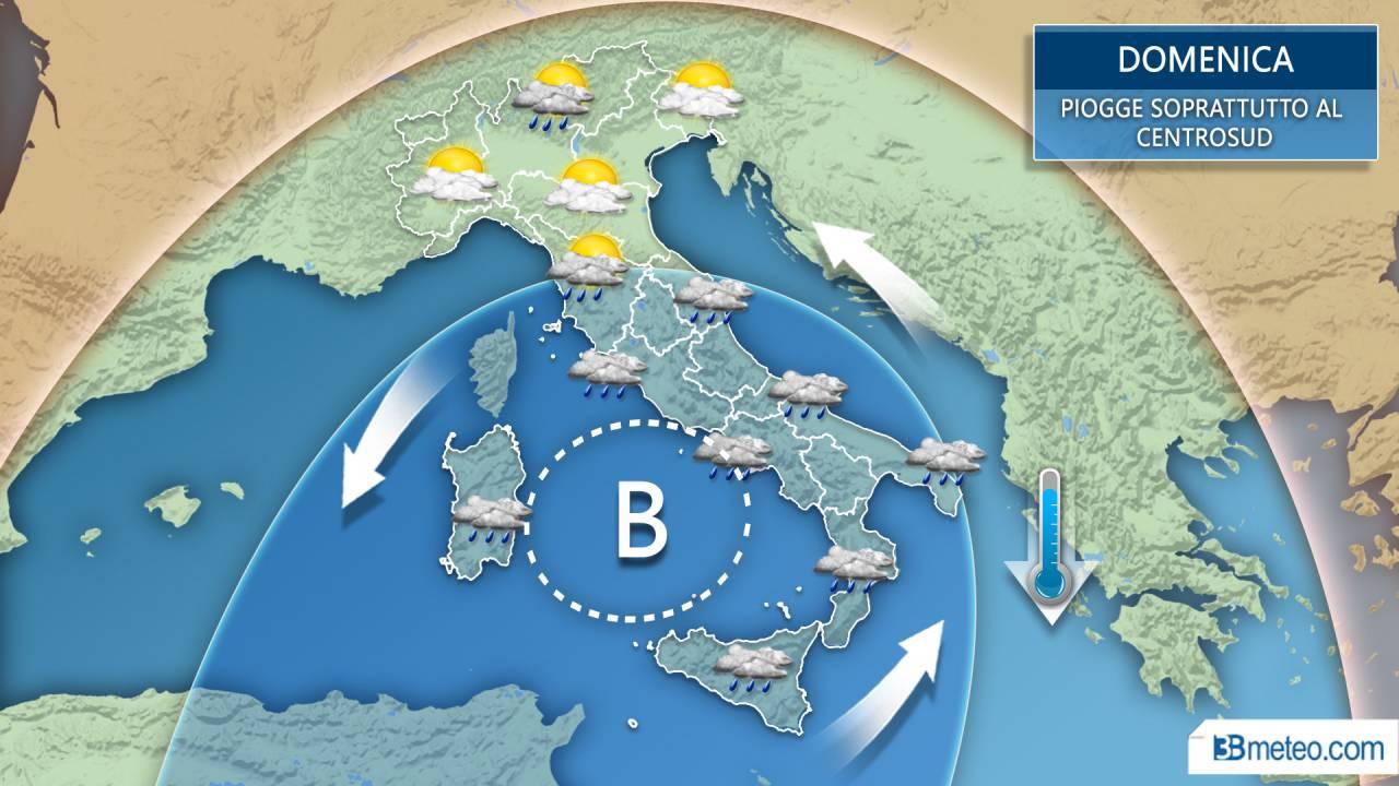 METEO Italia -- Domenica all'insegna del MALTEMPO su molte regioni. Ecco quali