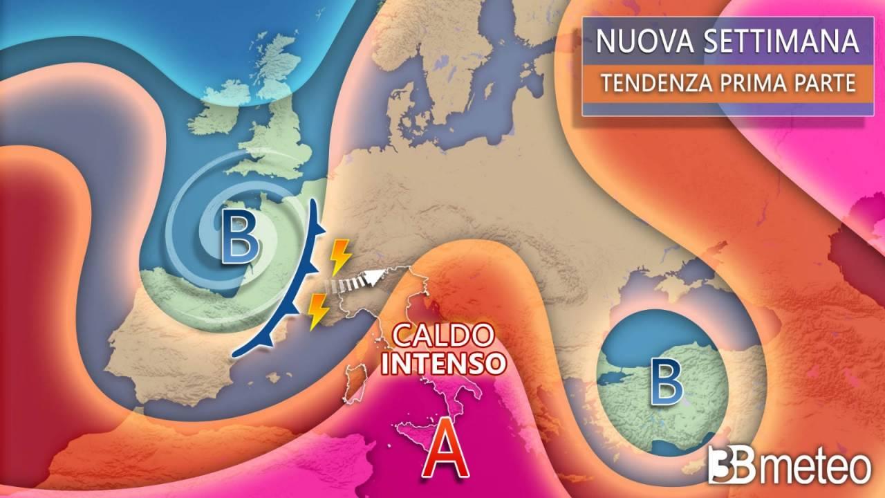 Meteo Italia ed Europa, verso una nuova settimana rovente con qualche forte temporale