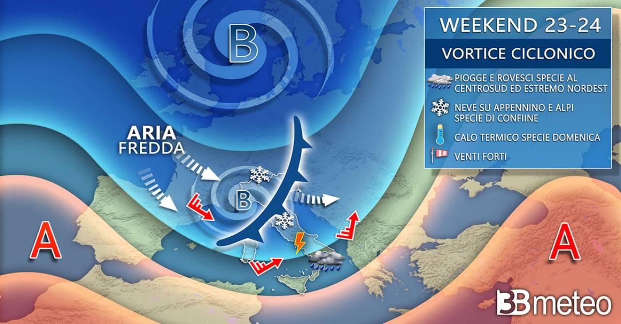 Meteo Italia: evoluzione prevista per il weekend