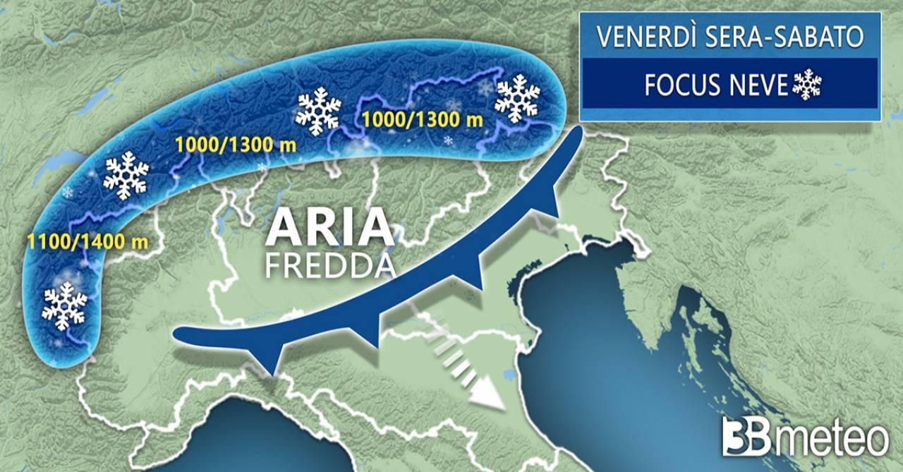 Meteo Italia: focus neve tra venerdì e sabato