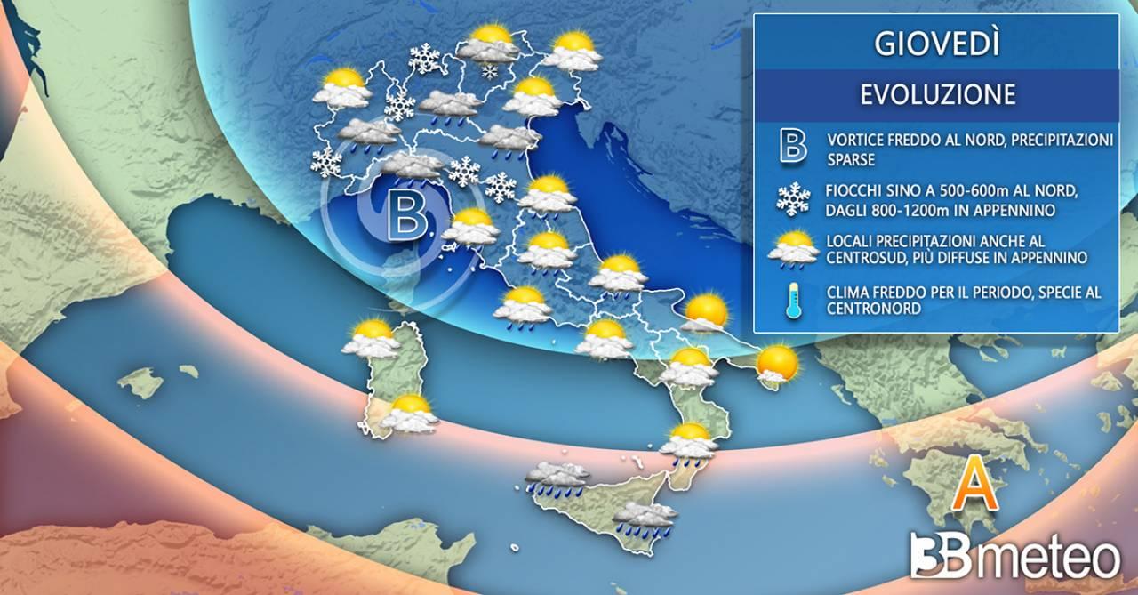 Meteo Italia giovedì. Ancora a tratti instabile e freddo
