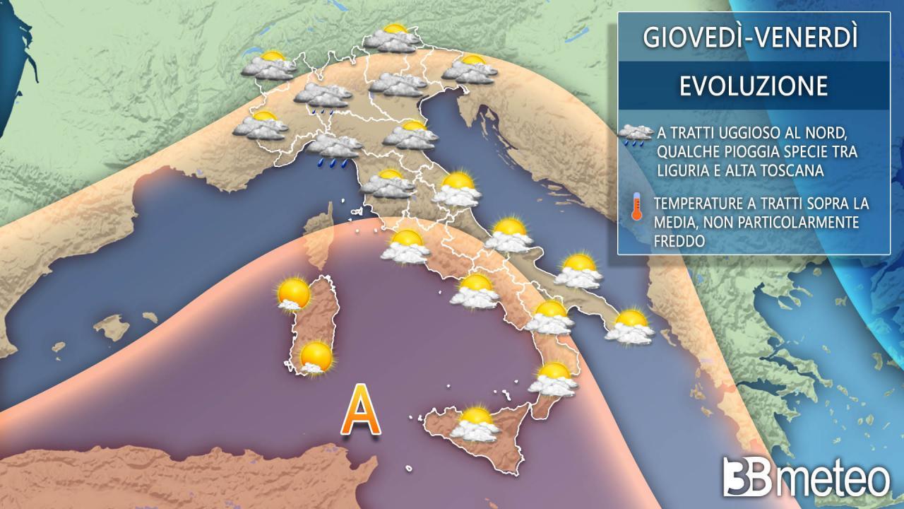Meteo Italia giovedì e venerdì