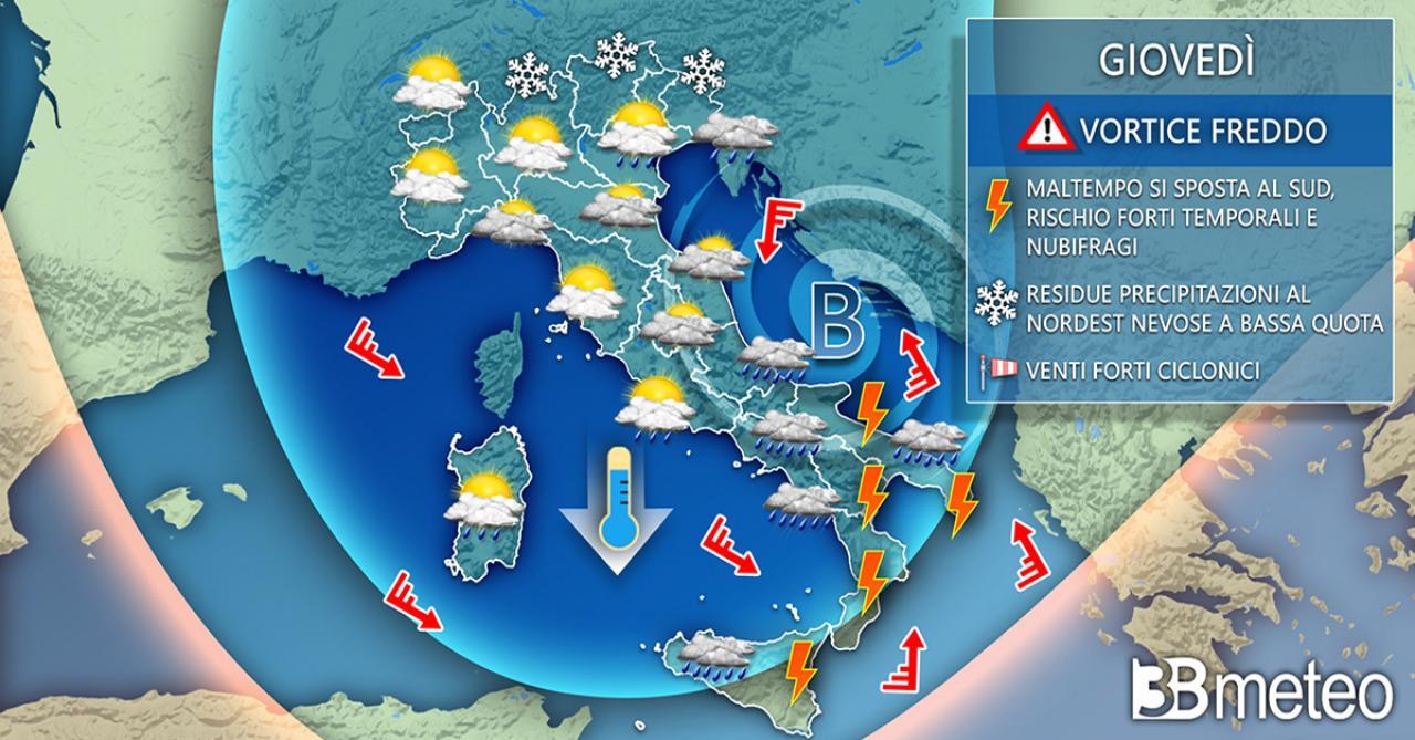 Meteo Italia: giovedì il maltempo si concentrerà soprattutto al Sud
