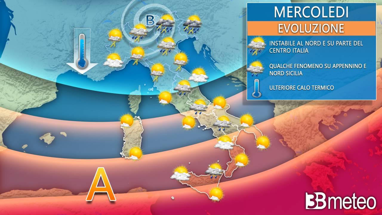 Meteo Italia: la situazione attesa mercoledì