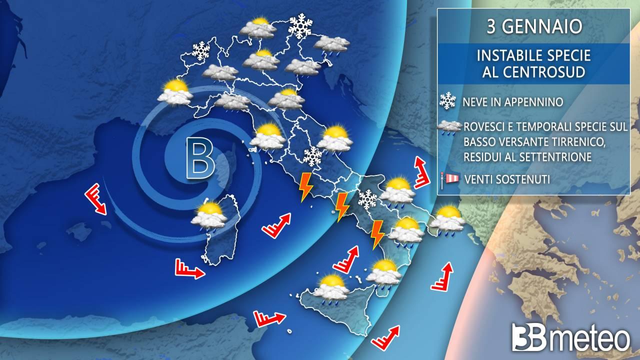 Meteo Italia: la situazione prevista domenica 3 gennaio