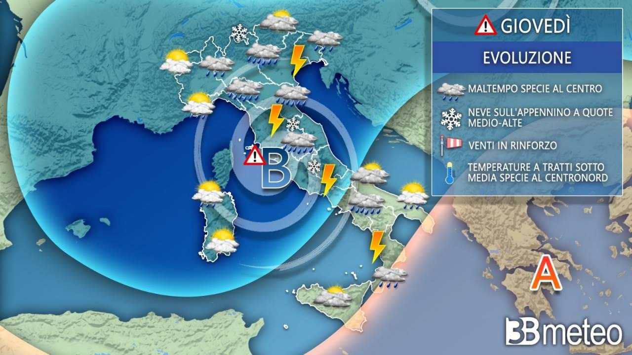 Meteo Italia: la situazione prevista giovedì