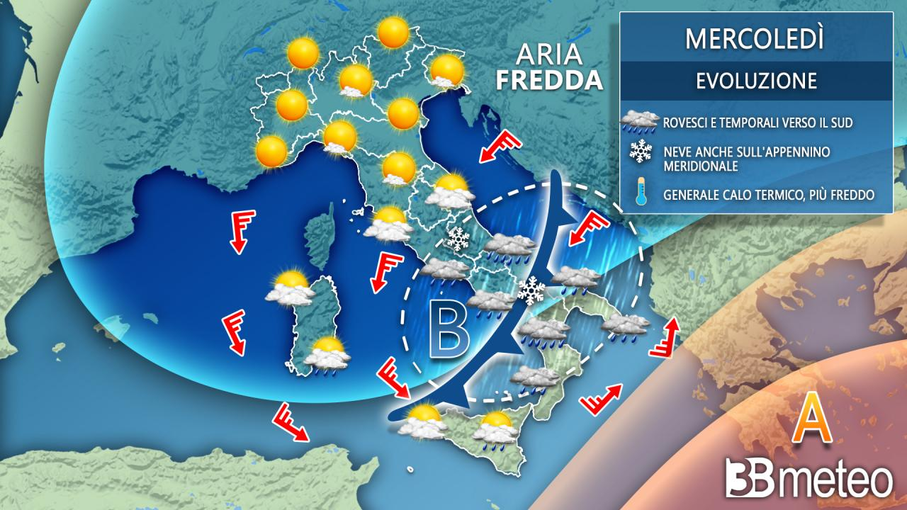 Meteo Italia: la situazione prevista mercoledi'