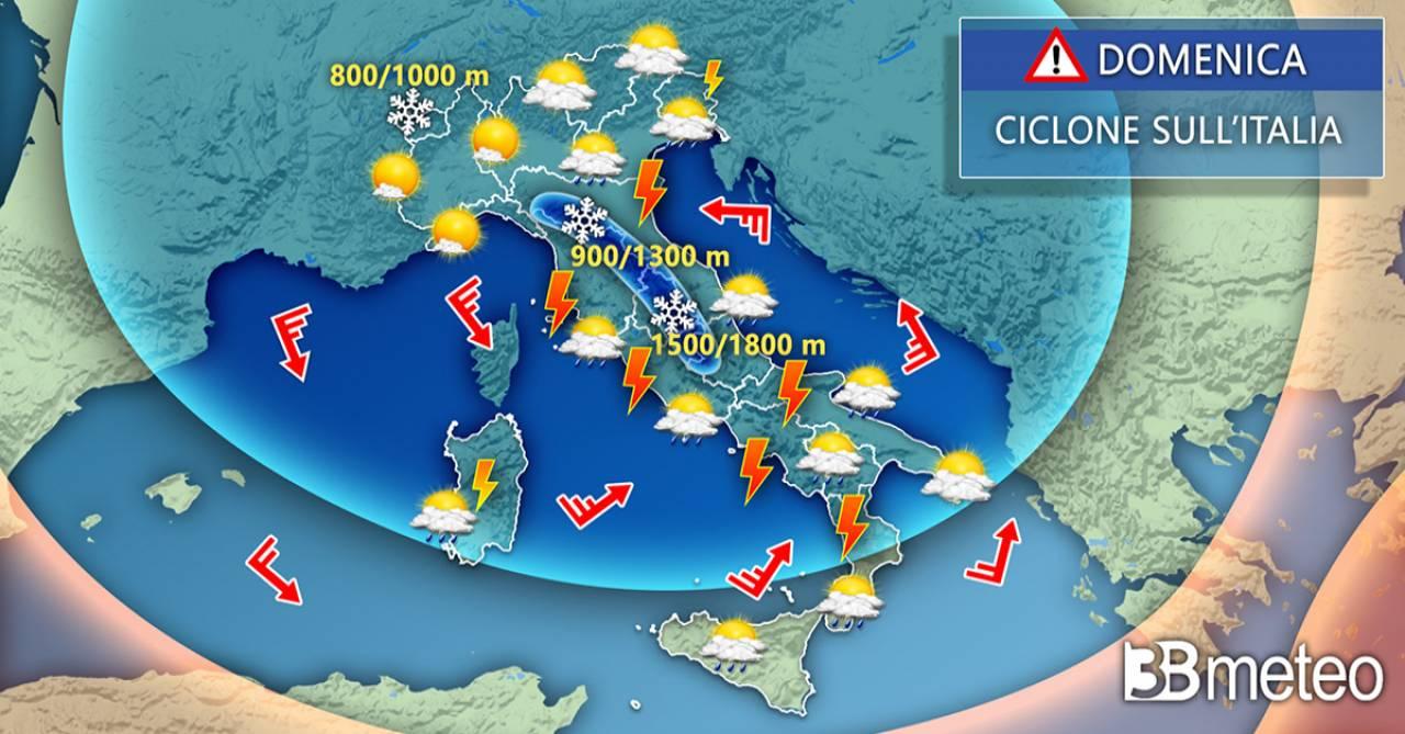 Meteo Italia: la situazione prevista per domenica