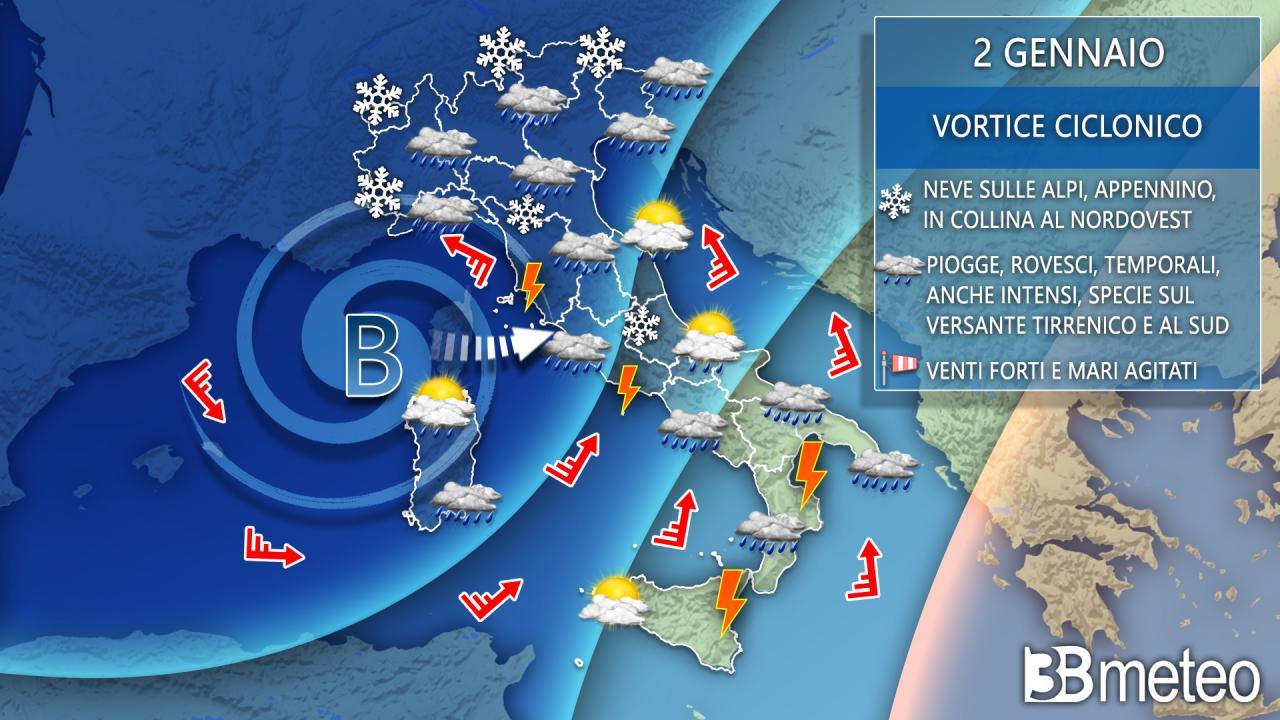 Meteo Italia: la situazione prevista per sabato 2 gennaio
